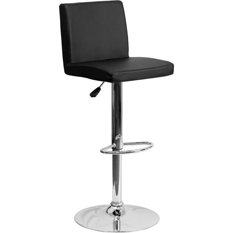 Contemporary Black Vinyl Adjustable Height Barstool with Panel Back and Chrome Base. Picture 1