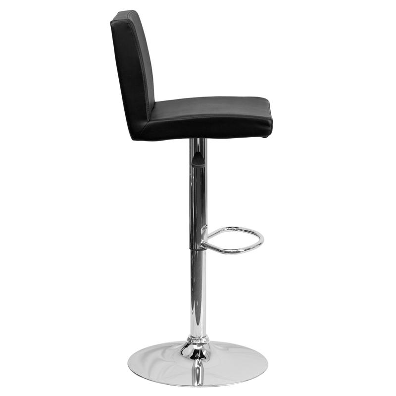 Contemporary Black Vinyl Adjustable Height Barstool with Panel Back and Chrome Base. Picture 2