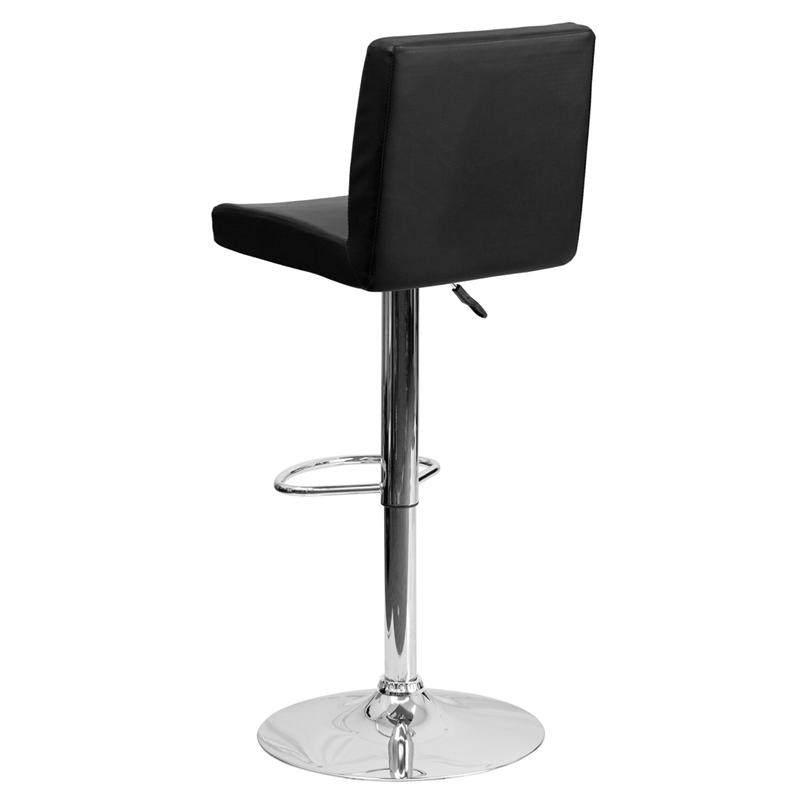 Contemporary Black Vinyl Adjustable Height Barstool with Panel Back and Chrome Base. Picture 3