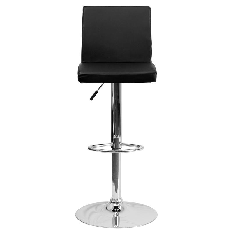 Contemporary Black Vinyl Adjustable Height Barstool with Panel Back and Chrome Base. Picture 4