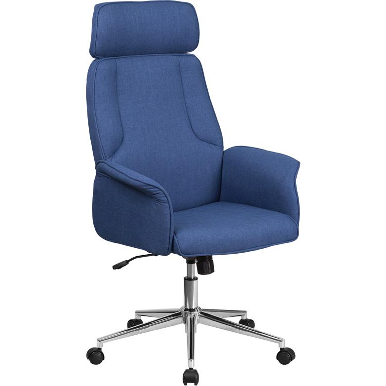 High Back Blue Fabric Executive Swivel fice Chair with