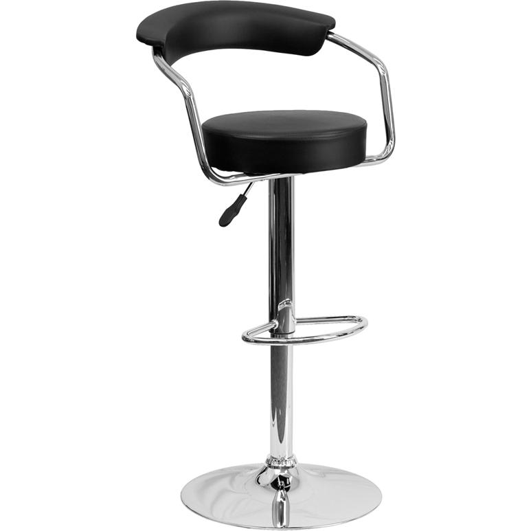 Contemporary Black Vinyl Adjustable Height Barstool with Arms and Chrome Base. The main picture.