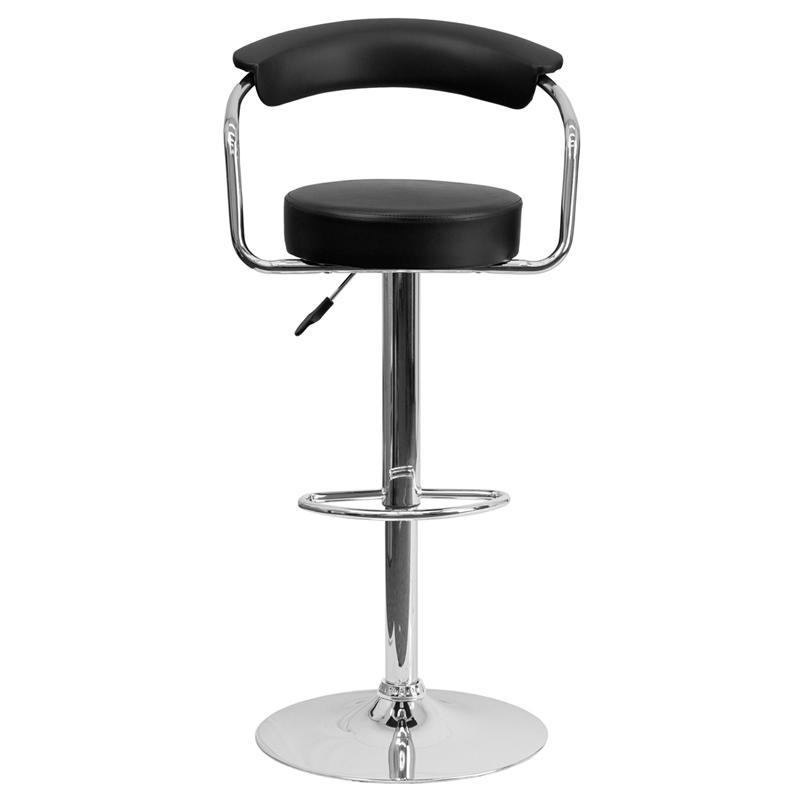 Contemporary Black Vinyl Adjustable Height Barstool with Arms and Chrome Base. Picture 4