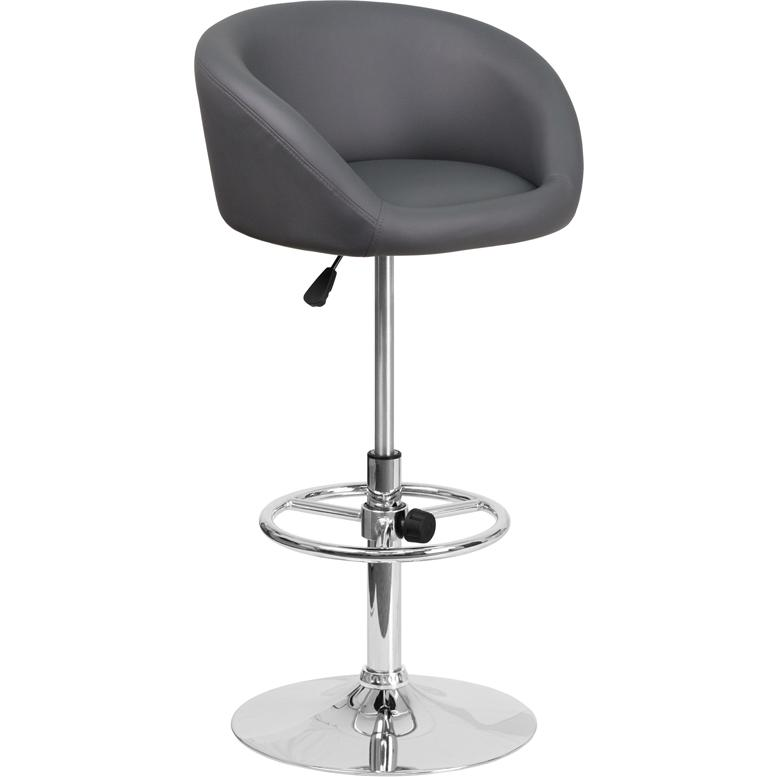Contemporary Gray Vinyl Adjustable Height Barstool with Barrel Back and Chrome Base. Picture 1