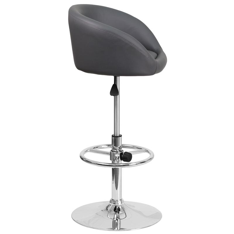 Contemporary Gray Vinyl Adjustable Height Barstool with Barrel Back and Chrome Base. Picture 2