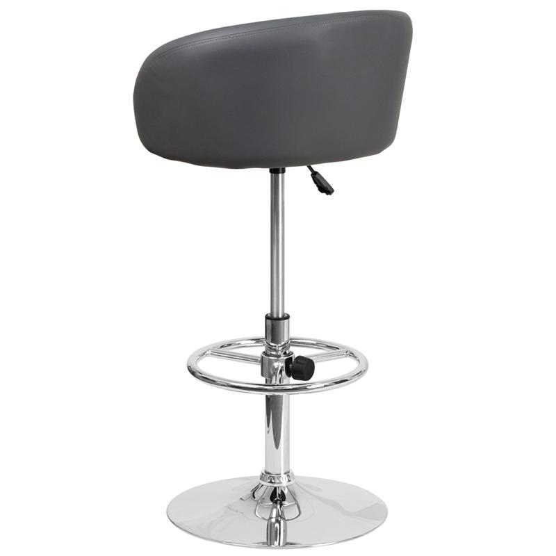 Contemporary Gray Vinyl Adjustable Height Barstool with Barrel Back and Chrome Base. Picture 3