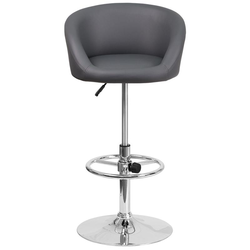 Contemporary Gray Vinyl Adjustable Height Barstool with Barrel Back and Chrome Base. Picture 4