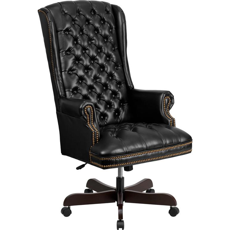 Amazing High Back Traditional Tufted Black Leather Executive Swivel Chair With Arms