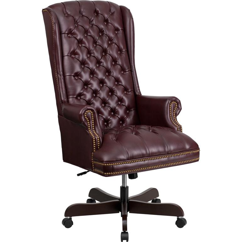 High Back Traditional Fully Tufted Burgundy Leather