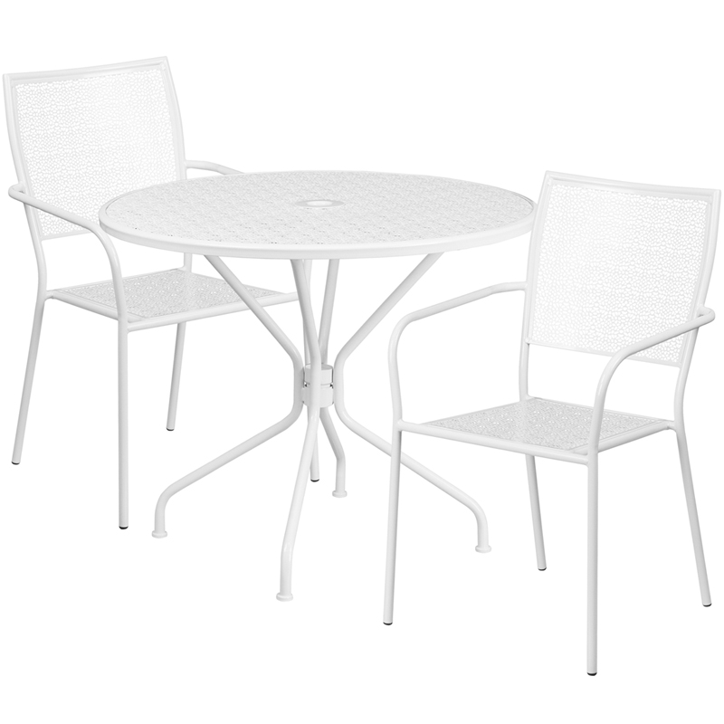 40 X 40 X 40 Square Coffee Table Ac4 Laminate Floor: 35.25'' Round White Indoor-Outdoor Steel Patio Table Set