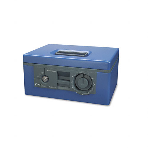 Security Box w/Dual Lock, Removable Cash/Coin Tray, Steel, Blue. Picture 1