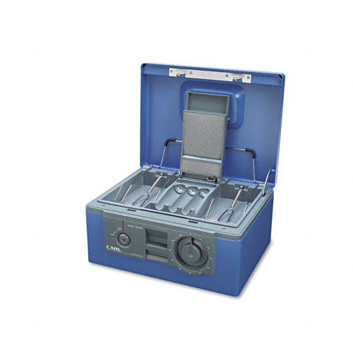 Security Box w/Dual Lock, Removable Cash/Coin Tray, Steel, Blue. Picture 2