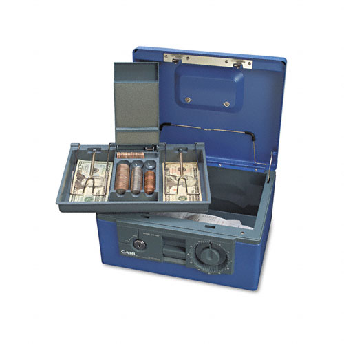 Security Box w/Dual Lock, Removable Cash/Coin Tray, Steel, Blue. Picture 3