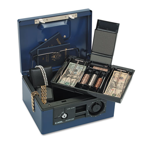 Security Box w/Dual Lock, Removable Cash/Coin Tray, Steel, Blue. Picture 5