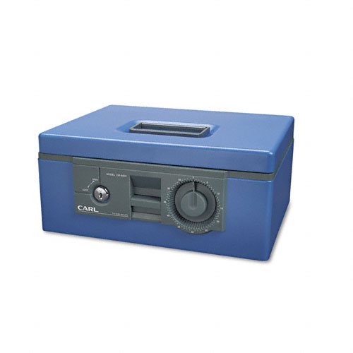 """12"""" Wide Security Box w/Dual Lock, Removable Cash/Coin Tray, Steel, Blue. Picture 1"""