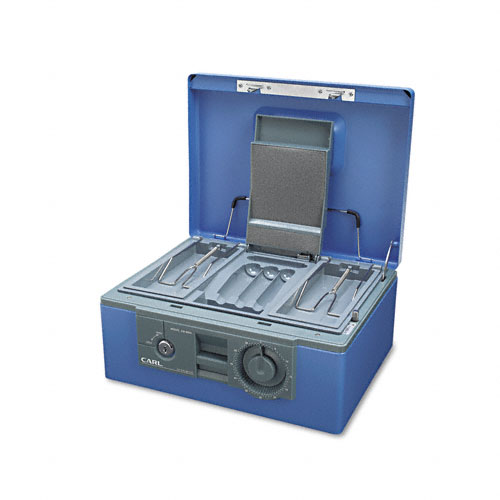 """12"""" Wide Security Box w/Dual Lock, Removable Cash/Coin Tray, Steel, Blue. Picture 2"""