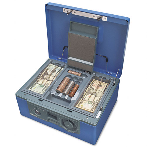 """12"""" Wide Security Box w/Dual Lock, Removable Cash/Coin Tray, Steel, Blue. Picture 3"""