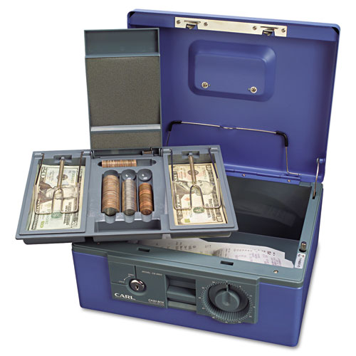 """12"""" Wide Security Box w/Dual Lock, Removable Cash/Coin Tray, Steel, Blue. Picture 4"""