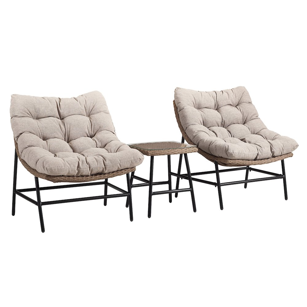 Outdoor Rounded Scoop Chair Set with Side Table. Picture 1