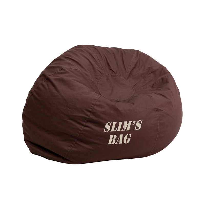 Personalized Small Solid Brown Kids Bean Bag Chair