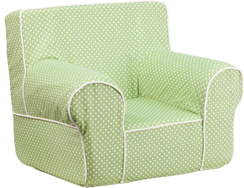 Small green dot kids chair with white piping for Oversized kids chair