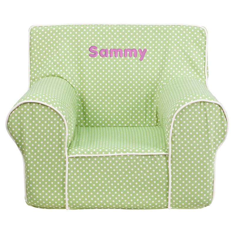 Personalized Small Green Dot Kids Chair With White Piping