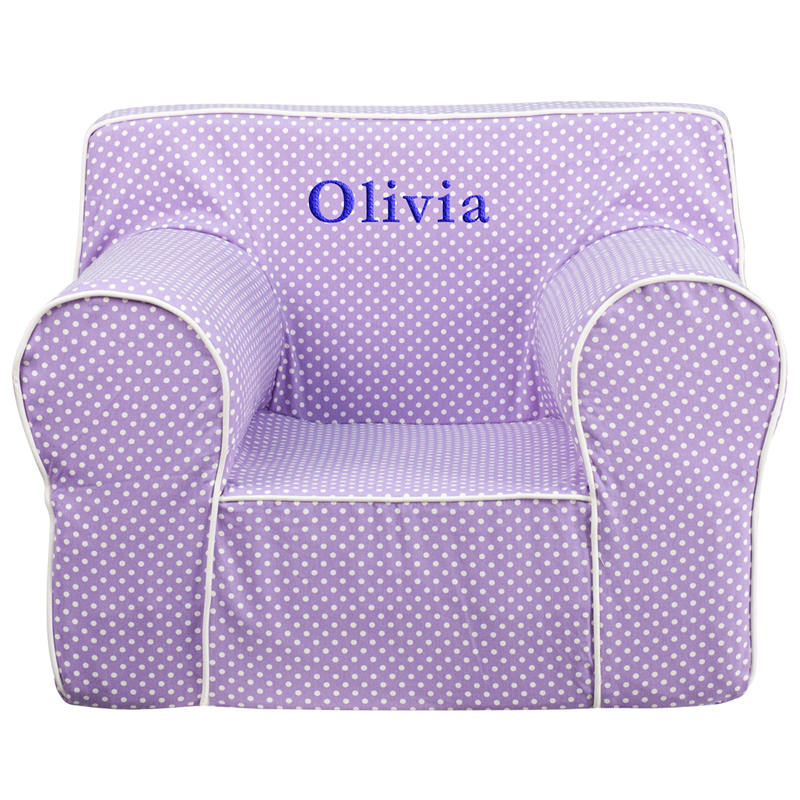 Personalized oversized lavender dot kids chair with white for Oversized kids chair