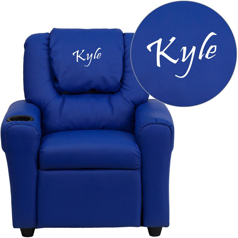 Personalized Blue Vinyl Kids Recliner with Cup Holder and Headrest. Picture 1
