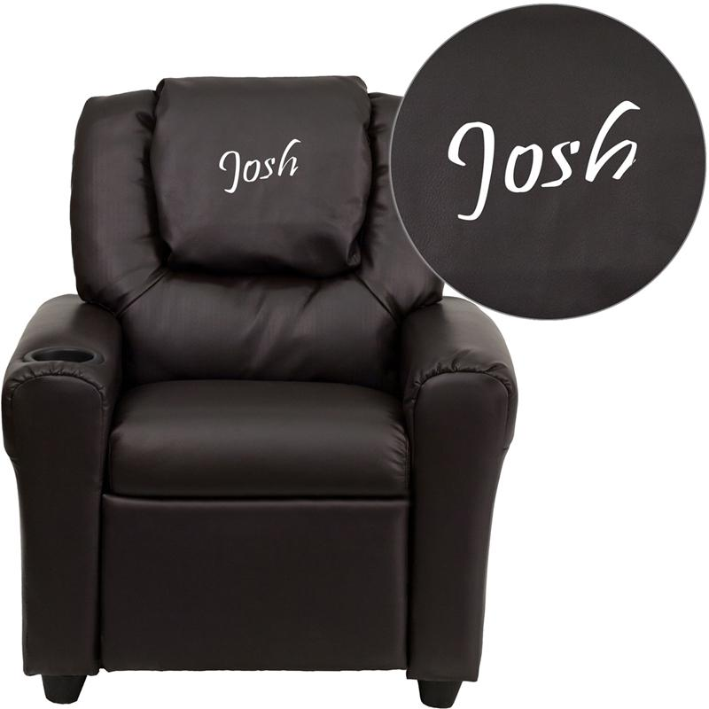 Personalized Brown Leather Kids Recliner with Cup Holder and Headrest  sc 1 st  Bison Office & Brown Leather Kids Recliner with Cup Holder and Headrest islam-shia.org
