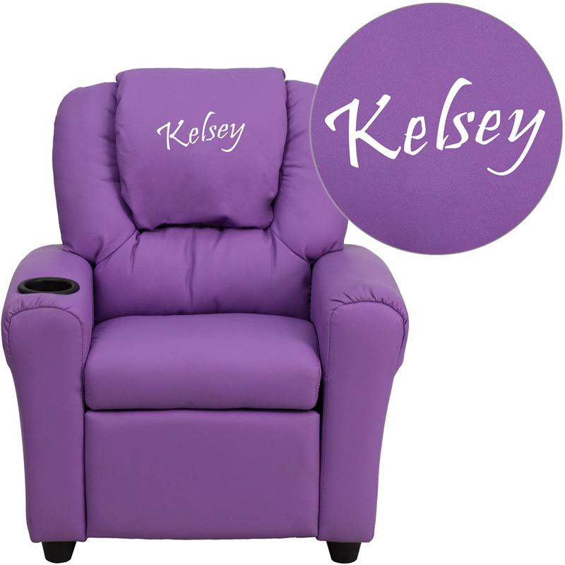 Personalized Lavender Vinyl Kids Recliner with Cup Holder and Headrest. Picture 1