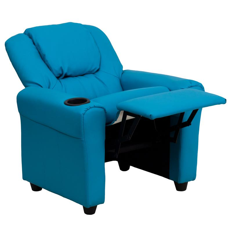 Contemporary Turquoise Vinyl Kids Recliner with Cup Holder and Headrest. Picture 5