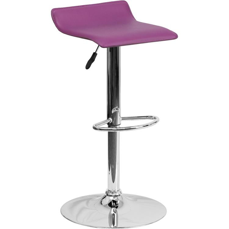 Contemporary Purple Vinyl Adjustable Height Barstool with Solid Wave Seat and Chrome Base. Picture 1