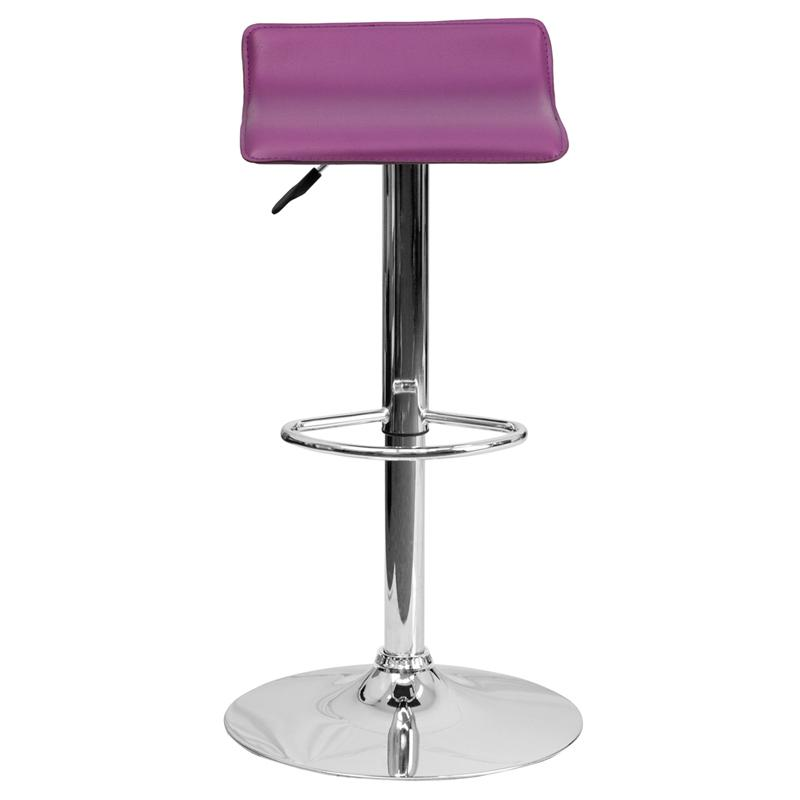 Contemporary Purple Vinyl Adjustable Height Barstool with Solid Wave Seat and Chrome Base. Picture 4