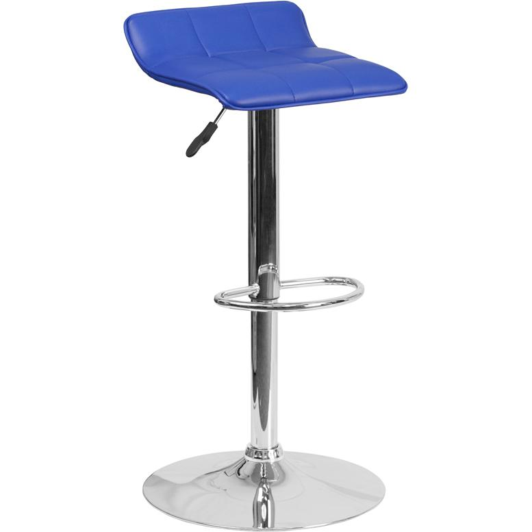 Contemporary Blue Vinyl Adjustable Height Barstool with Quilted Wave Seat and Chrome Base. Picture 1