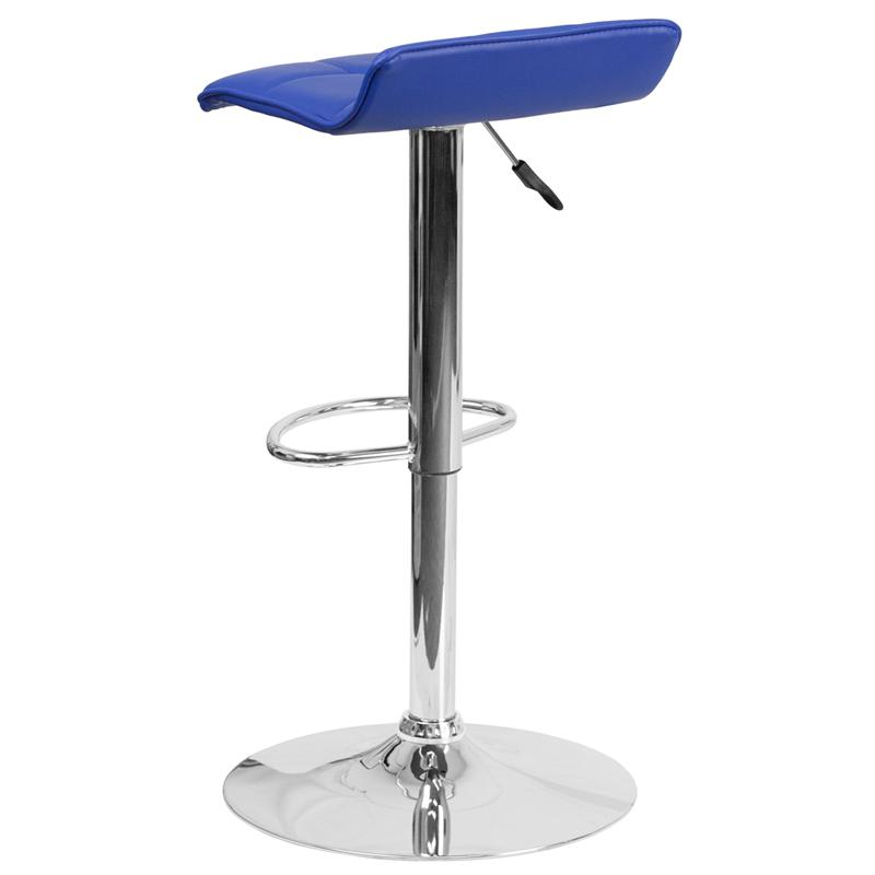 Contemporary Blue Vinyl Adjustable Height Barstool with Quilted Wave Seat and Chrome Base. Picture 3