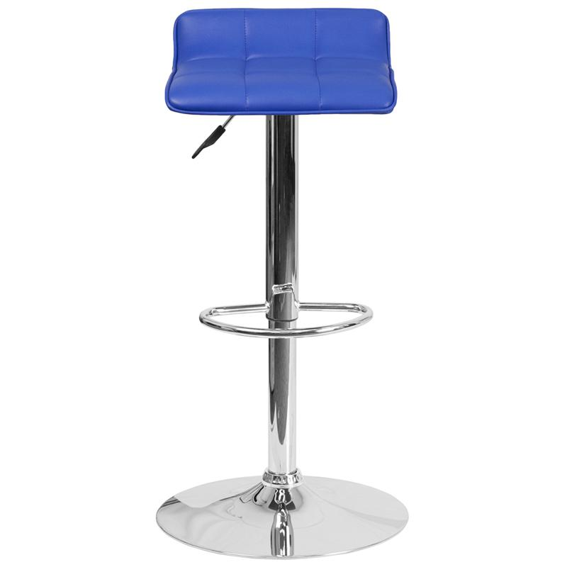 Contemporary Blue Vinyl Adjustable Height Barstool with Quilted Wave Seat and Chrome Base. Picture 4