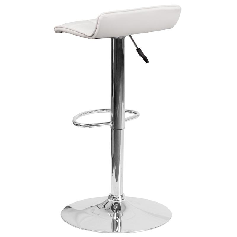 Contemporary White Vinyl Adjustable Height Barstool with Quilted Wave Seat and Chrome Base. Picture 3
