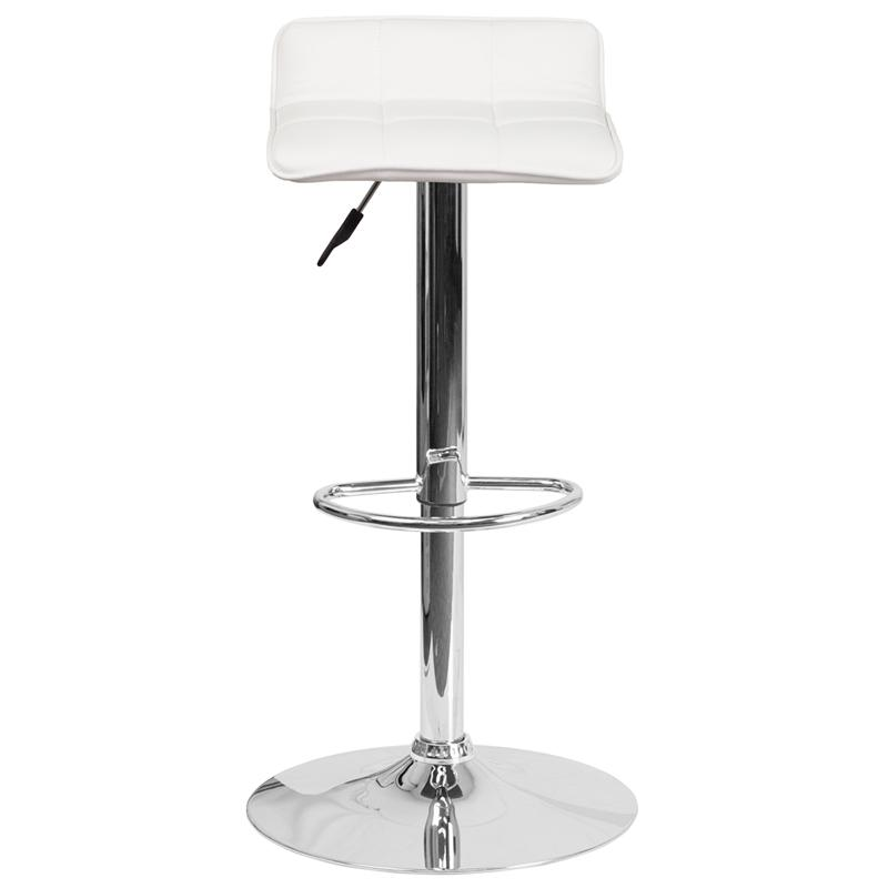 Contemporary White Vinyl Adjustable Height Barstool with Quilted Wave Seat and Chrome Base. Picture 4