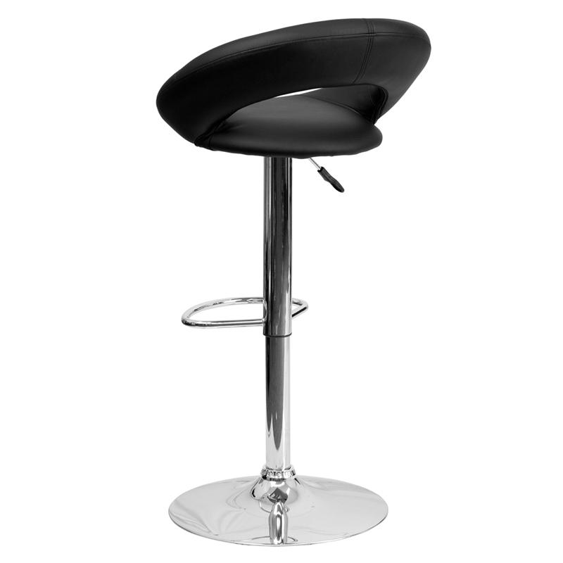 Contemporary Black Vinyl Rounded Orbit Style Back
