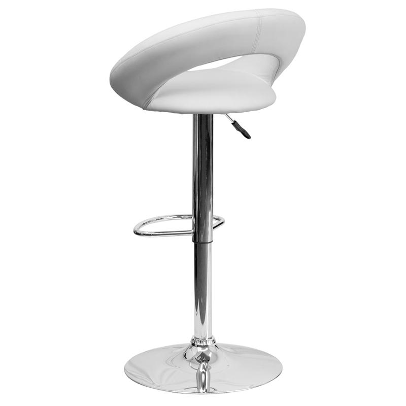 Contemporary White Vinyl Rounded Orbit-Style Back Adjustable Height Barstool with Chrome Base. Picture 3
