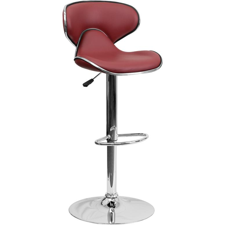 Contemporary Cozy Mid-Back Burgundy Vinyl Adjustable Height Barstool with Chrome Base. Picture 1