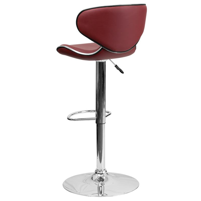 Contemporary Cozy Mid-Back Burgundy Vinyl Adjustable Height Barstool with Chrome Base. Picture 3