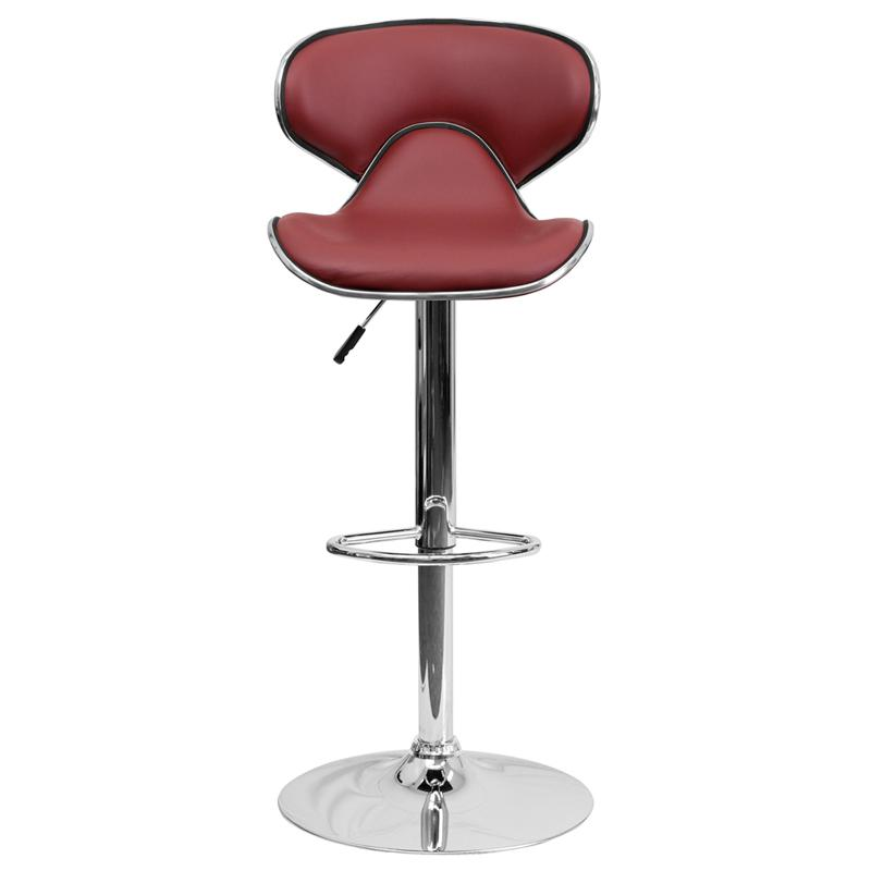 Contemporary Cozy Mid-Back Burgundy Vinyl Adjustable Height Barstool with Chrome Base. Picture 4