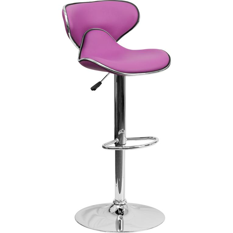Contemporary Cozy Mid Back Purple Vinyl Adjustable Height