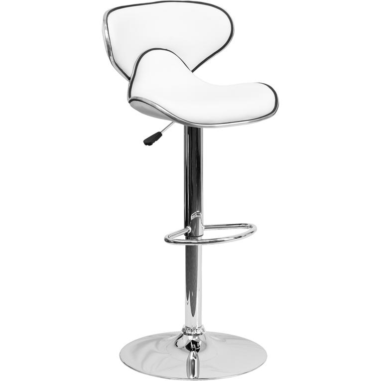 Contemporary Cozy Mid-Back White Vinyl Adjustable Height Barstool with Chrome Base. Picture 1