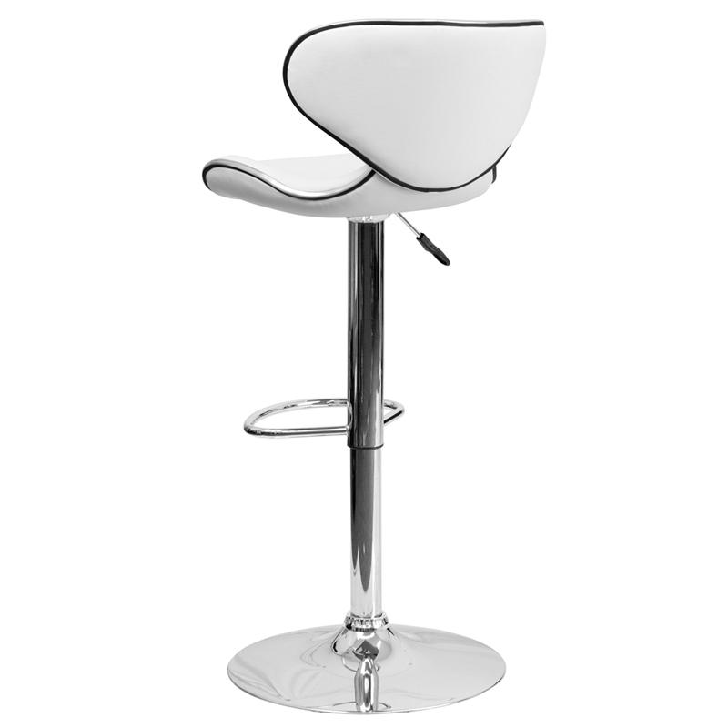 Contemporary Cozy Mid-Back White Vinyl Adjustable Height Barstool with Chrome Base. Picture 3