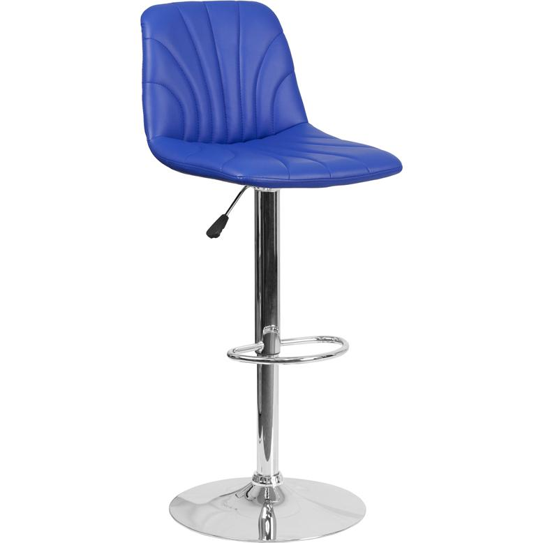 Contemporary Blue Vinyl Adjustable Height Barstool With