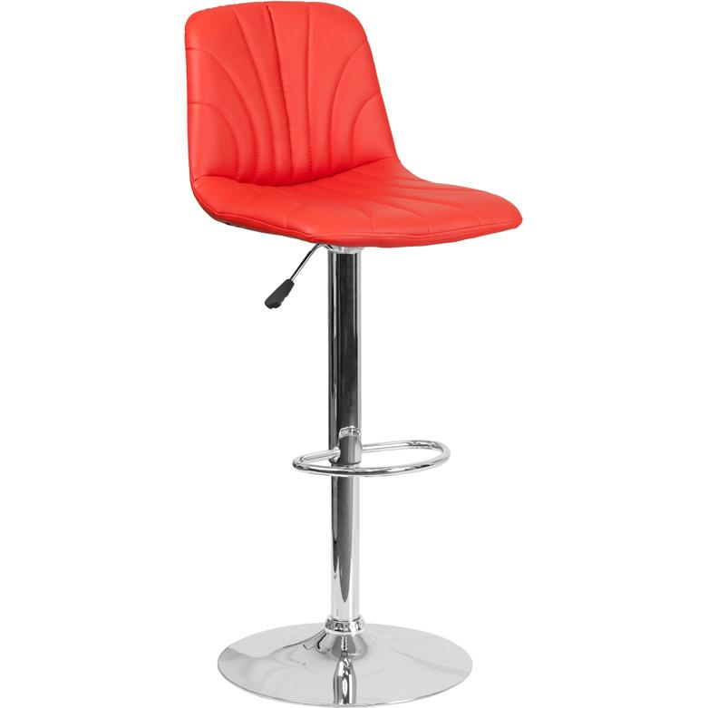 Contemporary Red Vinyl Adjustable Height Barstool with Embellished Stitch Design and Chrome Base. Picture 1