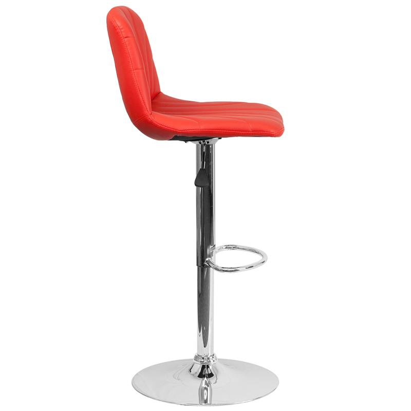 Contemporary Red Vinyl Adjustable Height Barstool with Embellished Stitch Design and Chrome Base. Picture 2