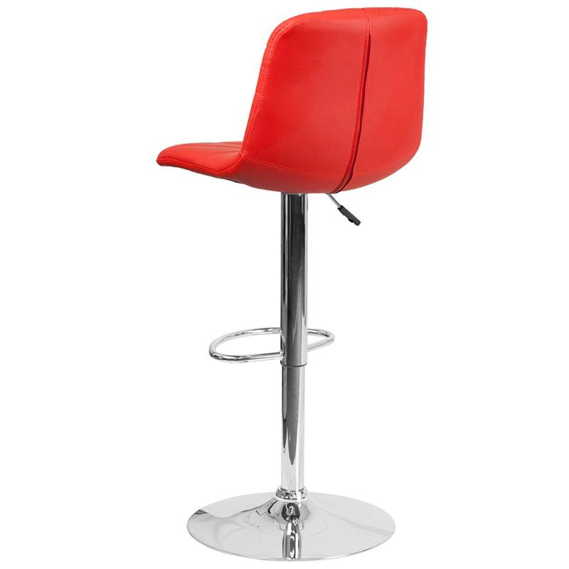 Contemporary Red Vinyl Adjustable Height Barstool with Embellished Stitch Design and Chrome Base. Picture 3